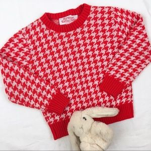 Vintage Houndstooth Plaid Chunky Knit Sweater